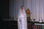 1950s Kodachrome Red Border Slide Halloween Child Dressed As A Ghost
