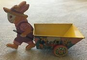 Vintage J. Chein Easter Roost Rabbit With Cart Tin Litho Candy Container