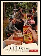 1960 Early Times Bourbon Whisky Outdoor Forest Woods Bbq Picnic Vintage Print Ad