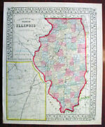 1869 Mitchell Antique Map Of The State Of Illinois