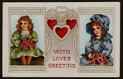 Collectible Vintage 1914 Valentine Postcard Two Ladies With Bouquets And Hearts
