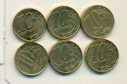 6 Different 10 Centavo Coins From Brazil 2003 2004 2005 2006 2007 And 2008
