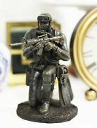 Kneeling Navy Seal Diver Soldier With Fins And Mask Aiming His Rifle Statue 6h