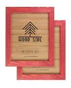 Rustic Wooden Picture Frames - Natural Solid Eco Wood - Wall/ Tabletop - Red