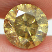 Round Cut Diamond Loose 3 Carat Fancy Champagne Color Real I1 Enhanced For Ring