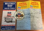 """Vintage Union Pacific Railroad Times Table 1962, Military Map 1944 And 3"""" Button"""