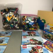 Lego Lot 8 Pounds Assorted Lego Pieces/ 2 Base Plates/ Building Guides/ No Figs
