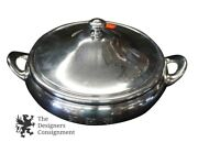 Poole Silver Company Silverplate Handled Lidded Serving Dish Monogrammed 12