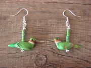 Hand Carved Green Mohave Turquoise Hummingbird Fetish Earrings By Matt Mitchell