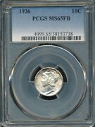 1936 Mercury Dime Pcgs Ms 65 Fb Gem Coin With Full Split Bands