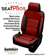 Leather Seat Covers 14-18 Silverado Crew Double Cab Black Cardinal Red Salsa