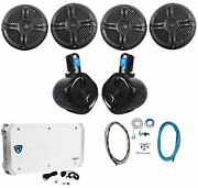 4 Rockville Rmsts65b 6.5 1600w Marine Boat Speakers+2 Wakeboards+amp+wire Kit