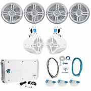 4 Rockville Rmsts65s 6.5 1600w Marine Boat Speakers+2 Wakeboards+amp+wire Kit