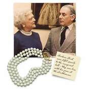 Kenneth Jay Lane, The Barbara Bush 3 Row Glass 12mm Pearl Necklace