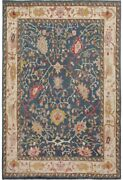 Vegetable Dye All-over Geometric Blue Oushak Turkish Area Rug Hand-knotted 9x12