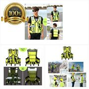 High Visibility Reflective Men Women Breathable Safety Vest With Pockets Traffic