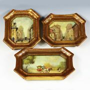 Set 3 Miniature Signed Oil Paintings Italian Early 20th Century Florentine Frame