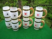 Card Players Poker Mugs Frosted Beer Mugs Siesta Ware Cards Suits 2 Sets