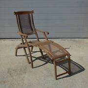 1900and039s Folding Lounge Ship Boat Deck Wooden Chair Caned Antique Maybe Walnut