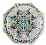 24 Pietra Dura Inlay Grill Work Home Decor White Marble Coffee Table Top