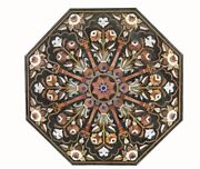 48 Green Marble Coffee Table Top Semi Precious Stone Floral Inlay Work