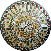 48 X 48 Center Round Green Marble Table Top Marquetry Pietra Dura Inlay Decor