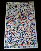 52 X 32 Marble Dining Table Top Semi Precious Multi Colour Stones Inlay Work