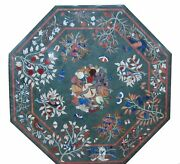 48 Green Marble Dining / Center Coffee Table Top Pietra Dura Inlaid Art Work