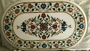48 X 32 Marble Table Top Semi Precious Stones Floral Inlay Home Furniture