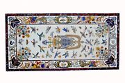 48 X 24 White Marble Coffee/ Dining Table Top Pietra Dura Marquetry Inlay