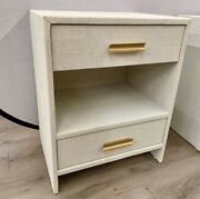 Midcentury Modern Oyster Linen Wrapped End Table Nightstand Table
