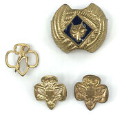 Wolf Cub Girl Scout Guide Lot 4 Scarf Slide Eagle Sprite Pin Brass Gold Tone Vtg