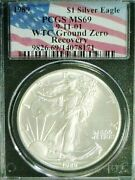1989 Silver Eagle Wtc Trade Center Recovery 911 Pcgs Ms69 Reduced 1/5/21 3610nam