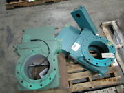 Stock Equipment Co. 10 Air Coal Steel Gate Valve Blue Unit On Right