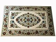 54 X 36 Marble Table Top Semi Precious Stones Floral Inlay Home Furniture