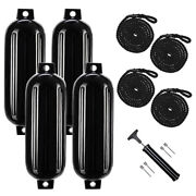 Pack Of 4 Ribbed Boat Fenders Inflatable Bumpers Dock Protection 8.5and039and039x27and039and039
