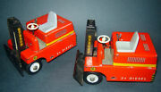 2 Antique Old Vintage Germany Lehmann Lifting Machine Walking Battery Tin Toy