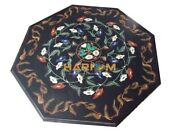 36 Black Marble Dining Table Top Lapis Carnelian Floral Inlay Home Decors B018