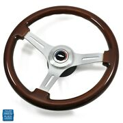 1964-1966 Chevy Cherry Wood Brushed Silver Steering Wheel Bowtie Center Cap Kit