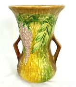 Roseville 10 3/8 Wisteria Blossoms And Leaves 682-10 Handled Vase Circa 1937