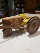 Vintage Antique Rare Tin Toy Tractor Rusted Farm House Condition. 12 X 6