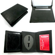 Leather Badge Holder Wallet Officer Sheild Id Police Sherif Fire Security Case