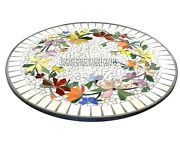 White Marble Round Coffee Table Top Floral Multi Inlay Living Room Decor H3839