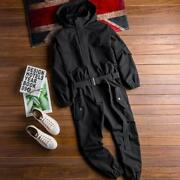 Mens Hooded Overalls Jumpsuit Trousers Belt Casual Loose Workwear Pants Sz