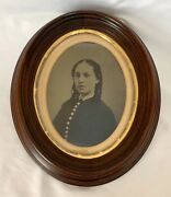 Antique 1860's 1870's Full Plate Tin Type Oval Walnut Frame Young Woman