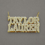 Solid 10k Gold 3d Pendant Block Font Monogram Couple Names Charm Iced Out Nd92