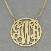 Solid 14k Gold 3 Initials 1 Circle Monogram Necklace Bridesmaids Gift Jewelry
