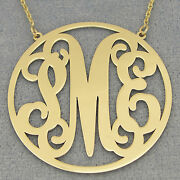 Solid 14k Gold 3 Initials Circle Monogram Necklace 1 1/2 Inch Bridesmaid Gift.