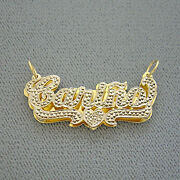 Solid 14k Gold Double Plates Diamond Accent Name Pendant Charm Personalized 3d
