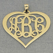 14k Solid Gold 3 Initial Heart Monogram Pendant 1 1/2 Bridesmaids Gift Jewelry